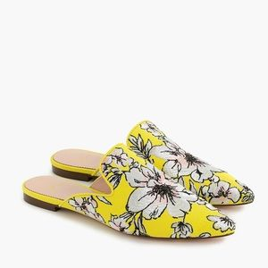 New J CREW pointed toe slides in brocade yellow